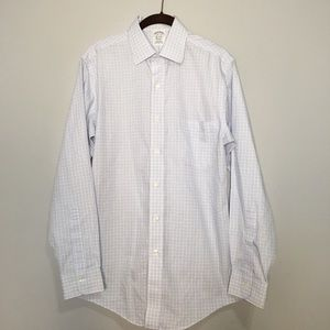 BROOKS BROTHERS BLUE WHITE SQUARE BUTTON DOWN 14.5